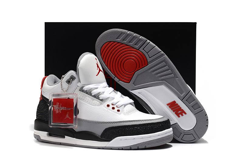2018 Air Jordan 3 Signature White Grey Black Red Shoes